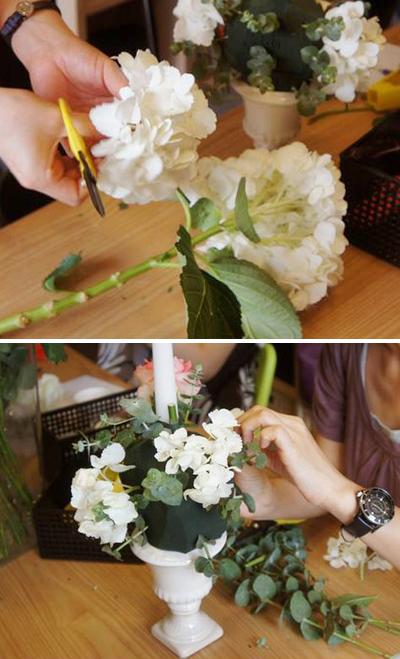Hướng dẫn trang trí nến với đế bằng hoa tươi