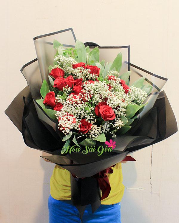 Bó hoa Tình yêu vĩnh cữu chính là sự hòa quyện của hai trái tim đập cùng một nhịp