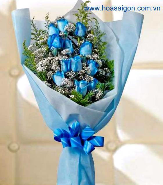 Bó hoa hồng xanh với lời cảm ơn chân thành và sâu sắc dành cho thầy cô